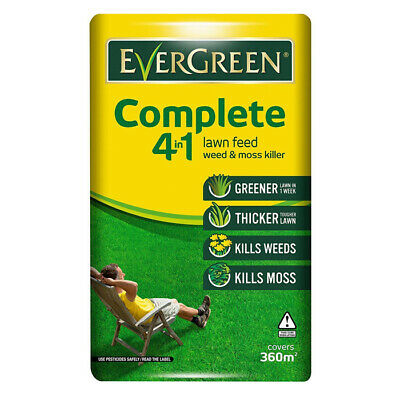 Evergreen Complete 4in1 Grass Lawn Care Food Feed Fertiliser Weed Killer- 12.6kg
