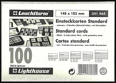 Lighthouse Standard Stamp Cards Black /3 Clear Strips With Cover 148x105mm 100pk