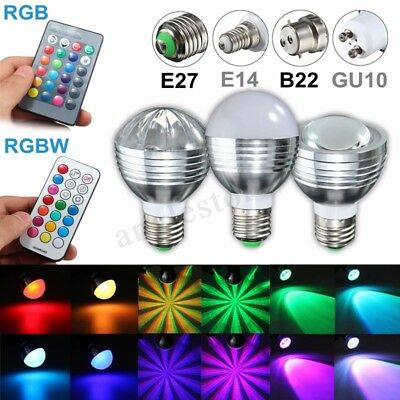 E27/B22/GU10/E14 5W/9W RGBW Dimmable LED Light Color Changing Lamp Bulb +