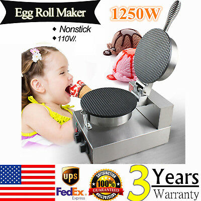110V Electric Commercial Stainless Steel Egg Roll Ice Cream Waffle Cone Maker US