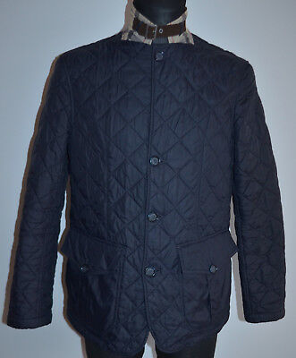 Men's BARBOUR QUILTED SANDER Jacket M Medium Navy Blue Coat Genuine VGC
