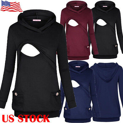 US STOCK Women Nursing Hoodie Breastfeeding Sweatshirt Maternity Mom T-shirt Top