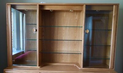 Ercol display cabinet - top unit that fits on Ercol sideboard, in colour light.