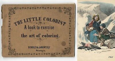 Antique THE LITTLE COLORIST Victorian Children's Painting 11 HAND COLORED PLATES