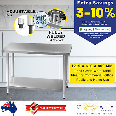 430 Stainless Steel Bench Table Tops Kitchen Island Work Food Prep Commercial