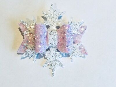 Handmade Christmas glitter pink snowflake bow baby/girls hair clip or headband