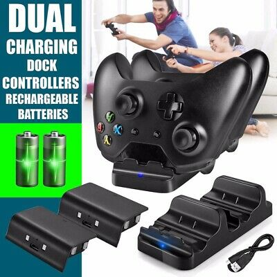 Dual 2 Charging Dock Station &2x Battery Pack For Xbox One/Xbox One X Controller
