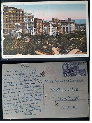 "1949 Tunisia Postcard ""Alger Square Laferriere"" ties 25F stamp canc Tunis"