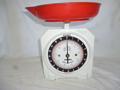 VINTAGE KITCHEN SCALES with ORIGINAL RED DISH - Metric & Imperial Face - working