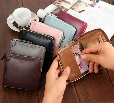 Mini Small Genuine Leather Credit Card ID Holder Purse Men/Women Wallet Pocket