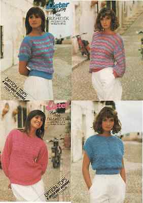 Knitting Pattern 4 Design Ladies Summer Lace Tops. 30 to 42 inch bust.