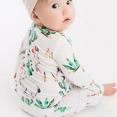 2PCS Newborn Baby Boy Girls Cactus Cotton T-shirt Tops+Pants Outfits Clothes Set
