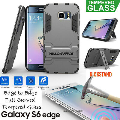 Samsung Galaxy S6, S6 Edge Plus Dual Layer Protect KickStand Armor Case + Films