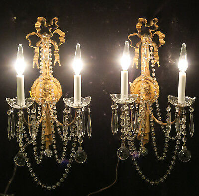 PR Vintage Bronze Brass Crystal lamp BOW Sconce French bead garland Ribbon Prism