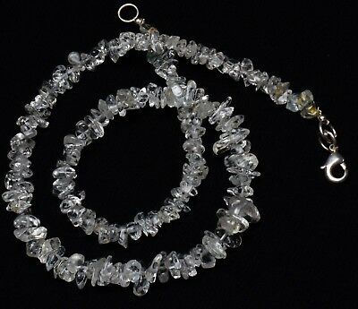 Natural Gem Goshenite Rough 4 to 8MM Size Uncut Chips Beads Necklace 16""