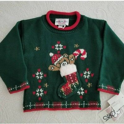 Vintage Christmas Dress Sweater Girls Teddy Bear New With Tag Toddler