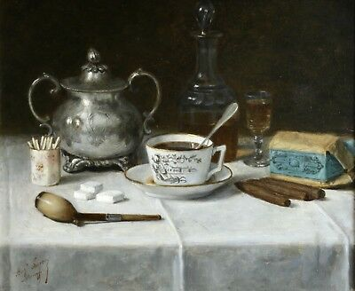 19th CENTURY FRENCH IMPRESSIONIST STILL LIFE OIL LIQUEUR, COFFEE, CIGARS & PIPE