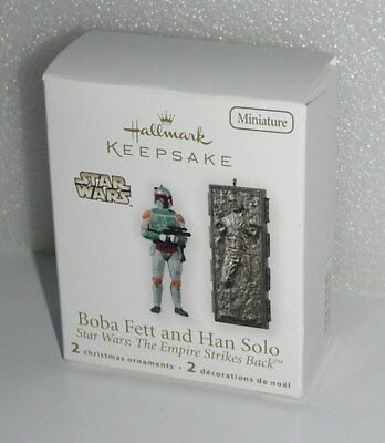Hallmark Star Wars Boba Fett & Han Solo Miniature Ornaments Carbonite 2010 NEW