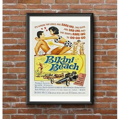 Bikini Beach Poster - Frankie Avalon Annette Funicello Dragsters 1960's Beach