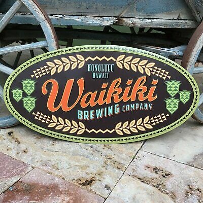 Waikiki Brewing Co Large Logo Tin Tacker Metal Beer Sign