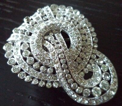 "Vintage Estate 1930's Art Deco Signed Rhinestone Flower 1 7/8"" Dress Clip! G300T"