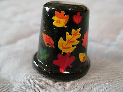 Vintage Wood Thimble, Hand Painted Fall Leaves on Black Background