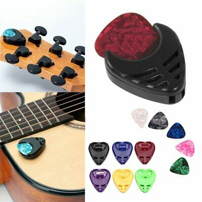 Self-Adhesive Guitar Plectrum Holder Case Bag W/ 5 Assorted Picks Acoustic Bass