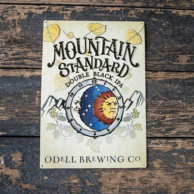 """Odell Brewing Co """"Mountain Standard Double Black IPA"""" Tin Tacker Metal Beer Sign"""