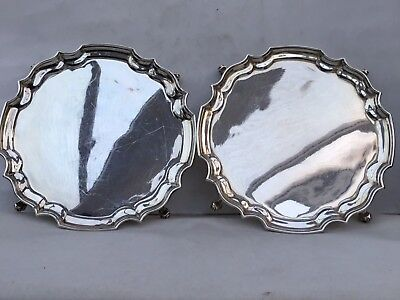 A Pair Of Vintage Solid Silver Trays or Calling Card Trays, 1969/72