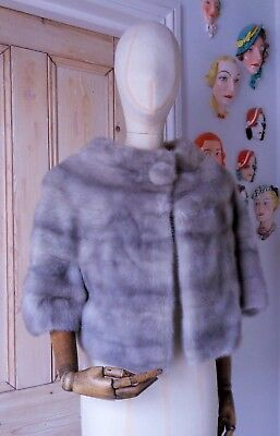 "Exquisite Real Fur 19"" Long ""Sapphire"" Silver~Blu Mink Jacket-UK size 10~12."