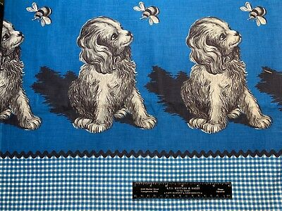Vintage Cotton Fabric 40s CUTE Dogs NOVELTY Border Ap[rons Skirt 35w 1yd