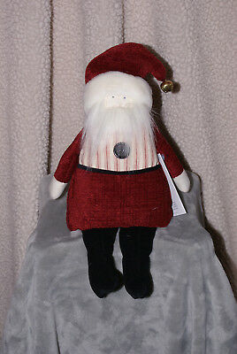Woof & Poof Cream and Red Striped Santa NWT 2015