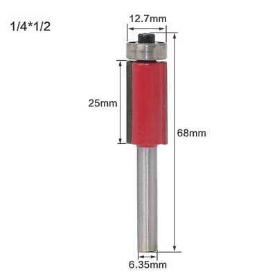 1/4*1/2 Shank Router Bit Double Bearing Trimming Blade Woodworking Cutter