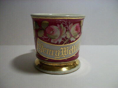 Antique Shaving Mug With Gold And Hand Painted Roses Monogram Henry Wetterauer