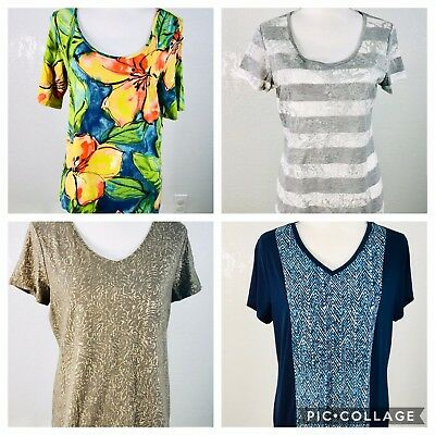 Chicos Lot Of 4 Size 1 M Womens Tops Blouses Shirts Short Sleeves