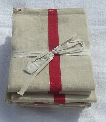 Antique French Kitchen Cloth Ecru Linen red stripes fabric calico