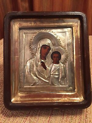 Antique Russian Imperial Icon 84 Silver Riza