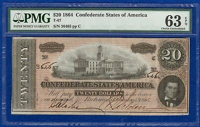 T-67 1864 $20 Confederate States Banknote PMG 63 Choice Uncirculated EPQ