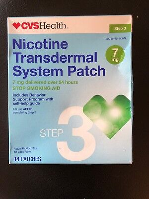 CVS Nicotine Transdermal System Patch, 14 Patches, 7 MG, Step 3 Exp 10/2018