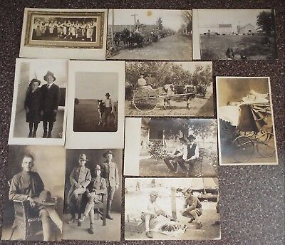 Antique Real Picture Postcard 11 Lot Military / Farming /  Rural