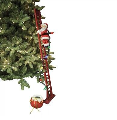 Animated Santa Claus Climbing Ladder Musical Christmas Tree Holiday Decoration