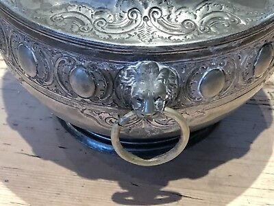 Silver Plated Lion Head Vintage Urn with Lid
