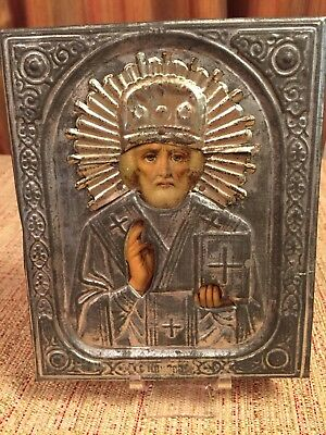 Antique Russian Orthodox Religious Icon of Saint Nicholas