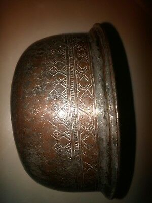 Antique Middle Eastern Islamic Arabic Iranian Tinned Copper Bowl