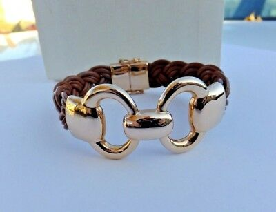 Milor Italy Rose Gold Tone Bronze Brown Leather Bracelet Magnetic & Clasp