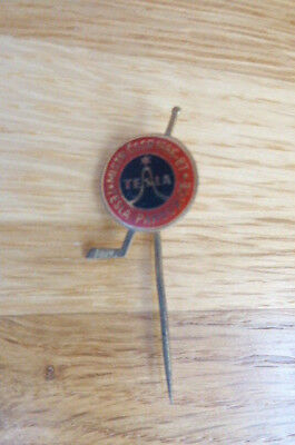 Vintage Tesla Pardubice Czechoslovakia Ice Hockey Pin Badge