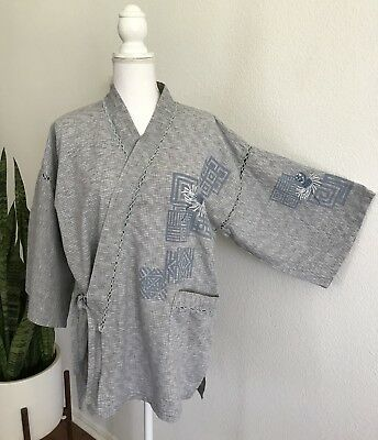 Japanese Gray/Blue/White Embroidered Short Kimono Robe Yukata Unisex Size L