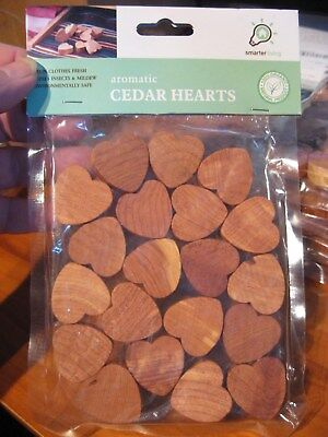 """20 Organic Aromatic 1"""" Cedar Wood Hearts Repels Insects Keeps Clothes Fresh"""