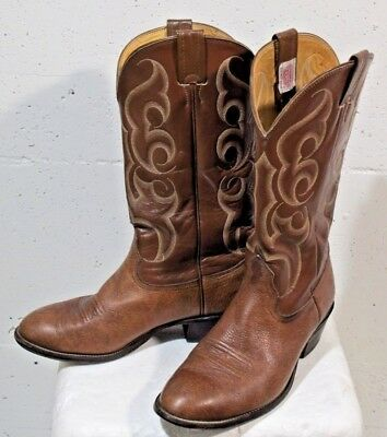Vtg Nocona Mens Brown Rust Leather Western Cowboy Boots SZ 9 E Made in USA