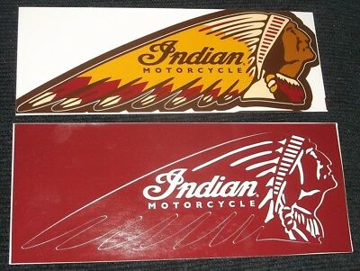 Indian Motorcycle Lot of 2 Die Cut Stickers 8 x 2.75